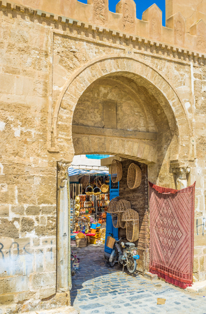 bab: SFAX, TUNISIA - SEPTEMBER 3, 2015: The traditional market occupied territory just inside the Bab Diwan Gates, on September 3 in Sfax.