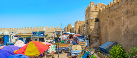 bab: SFAX, TUNISIA - SEPTEMBER 3, 2015: The souq, located at Bab Jebli gates, stretches along the town ramparts on each side, on September 3 in Sfax.