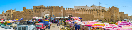 bab: SFAX, TUNISIA - SEPTEMBER 3, 2015: Panorama of the fortress walls of Medina and the souq, located at Bab Jebli gates, on September 3 in Sfax. Editorial