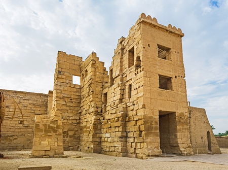eligion: The migdol was the fortified gate-house, leading to the Habu Temple, Luxor, Egypt.