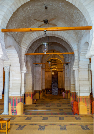 prayer rug: SOUSSE, TUNISIA - SEPTEMBER 6, 2015: The old stone prayer hall of the Grand Mosque, on September 6 in Sousse.