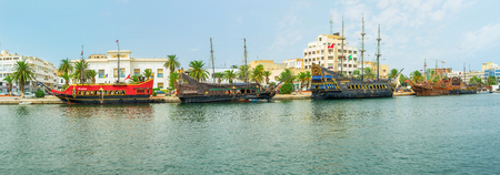 SOUSSE, TUNISIA - SEPTEMBER 6, 2015: The beautiful wooden galleons are the best commercial for the sea trips, on September 6 in Sousse.