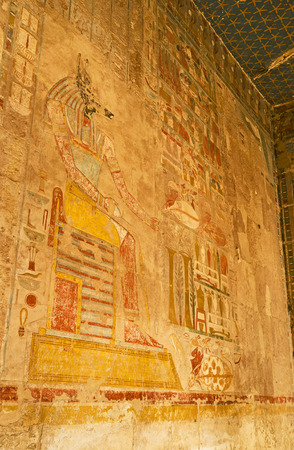 anubis: The fresco, depicting ancient god Anubis on the wall of Hatshepsut Temple, Luxor, Egypt. Stock Photo