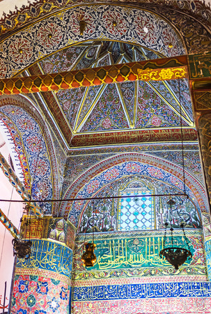 KONYA, TURKEY - JANUARY 20, 2015: The richly decorated dome over the burial chamber with Mevlana sarcofagus, on January 20 in Konya.