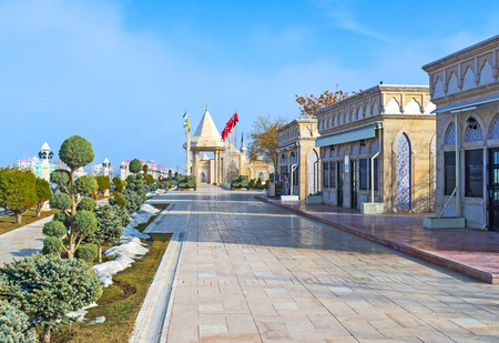 seljuk: The modern street leads to the Independence War Museum, surrounded by the scenic flower beds, Konya, Turkey. Editorial