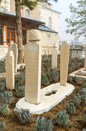 konya: The medieval islamic graveyard next to Mevlana Mausoleum in Konya, Turkey. Editorial