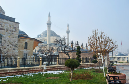 The Mevlana Museum, surrounded by the scenic flower beds and tiny park, Konya, Turkey.