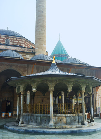 konya: KONYA, TURKEY - JANUARY 20, 2015: The scenic sadirvan (ablution fountain) in Mevlana Museum, on January 20 in Konya.
