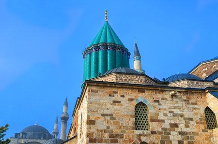 faience: The green faience dome built right over the sarcofagus of Rumi, Konya, Turkey.