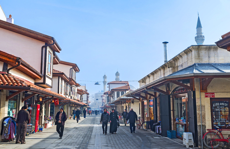 seljuk: KONYA, TURKEY - JANUARY 20, 2015: The central market occupied the large neighborhood and consists of the small restored and rebuilt houses and workshops, on January 20 in Konya. Editorial