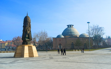 konya: KONYA, TURKEY - JANUARY 20, 2015: The abstract memorial monument, symbolizing the military glory of Seljuk Sultanate and Ottoman Empire, on January 20 in Konya. Editorial