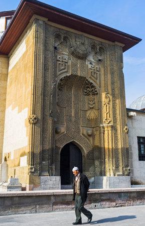 The beautiful decorated facade of Ince Minareli Madrasah (Slender Minaret), now housing the Museum of Stone and Wood Art, Konya, Turkey.