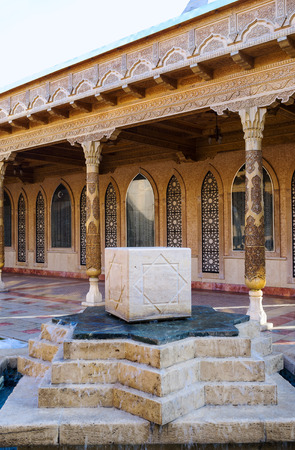 octagonal: KONYA, TURKEY - JANUARY 20, 2015: The fountain of Military Museum decorated with the stone cube with Rub el Hizb, the octagonal star islamic symbol, on January 20 in Konya. Editorial