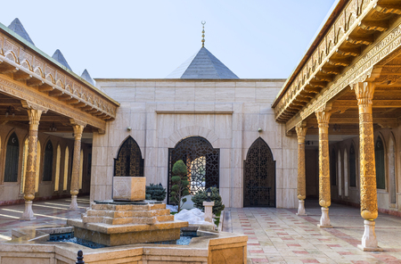 seljuk: KONYA, TURKEY - JANUARY 20, 2015: The courtyard of Military Museum with the stone fountain, decorated with Rub el Hizb, on January 20 in Konya.