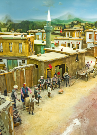 diorama: KONYA, TURKEY - JANUARY 20, 2015: The diorama of the War of Independence and interesting scenes of rural life in Military Museum, on January 20 in Konya.