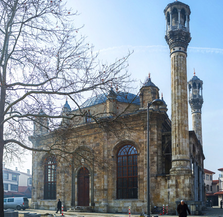sufi: KONYA, TURKEY - JANUARY 20, 2015: The scenic baroque Aziziye Mosque located in central city district of Karatay and neighbors with the large market, on January 20 in Konya. Editorial