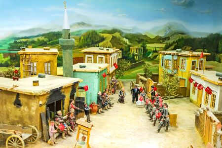 diorama: KONYA, TURKEY - JANUARY 20, 2015: The diorama of the celebration the victory in War of Independence on the central village street, on January 20 in Konya.