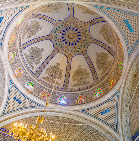 ethnographical: EL KEF, TUNISIA - SEPTEMBER 5, 2015: The cupola of the old mosque, serving as Ethnographical museum, decorated with islamic patterns of carved plaster, on September 5 in El Kef.