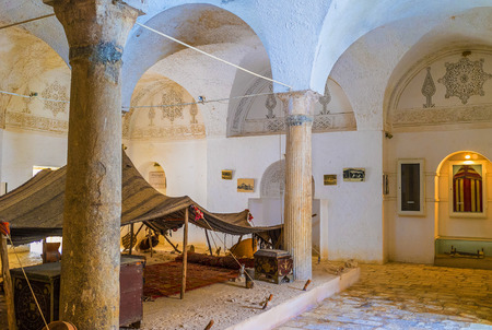 ethnographical: EL KEF, TUNISIA - SEPTEMBER 5, 2015: The recreated living conditions and Bedouin hut in Ethnographical museum, on September 5 in El Kef.