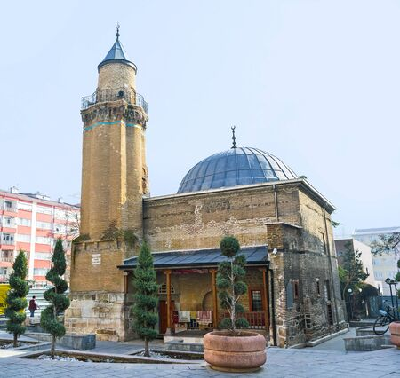 seljuk: The small Hoca Hasan Mosque located in the old town of Konya, Turkey.