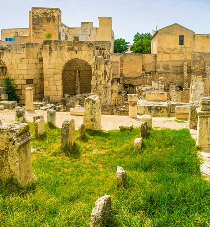 notable: The ancient ruins of the Roman baths are the notable landmark of El Kef, Tunisia.