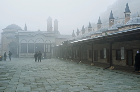 KONYA, TURKEY - JANUARY 20, 2015: The Mevlana Museum is the symbol of town and one of the most notable landmarks of Turkey, on January 20 in Konya. Editorial