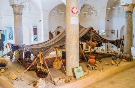 ethnographical: EL KEF, TUNISIA - SEPTEMBER 5, 2015: The old Bedouin hut in hall of Ethnographic Museum, on September 5 in El Kef.