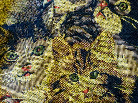 The canvas decorated with green-eyed kittens. 版權商用圖片