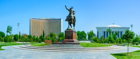 forums: TASHKENT, UZBEKISTAN - MAY 5, 2015: The monument to Amir Timur with the Hotel Uzbekistan and Palace of International Forums on the background, on May 5 in Tashkent.