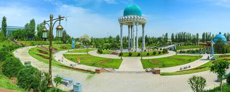 repression: TASHKENT, UZBEKISTAN - MAY 7, 2015: The scenic alcove with the green dome, located in the middle of garden is the memorial to the victims of repression, on May 5 in Tashkent. Editorial