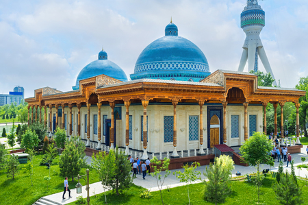 repression: TASHKENT, UZBEKISTAN - MAY 7, 2015: The Museum of victims of political repression built in traditional uzbek style with bright blue tiled domes, carved wooden pillars and islamic patterns on facade, on May 5 in Tashkent.