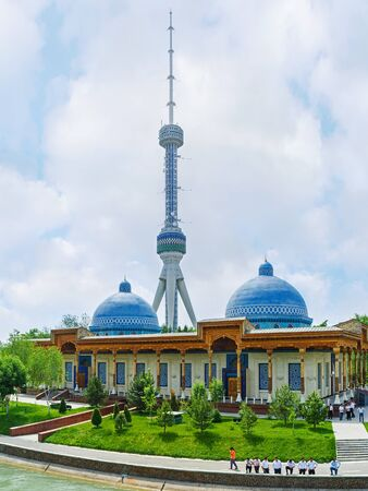 repression: TASHKENT, UZBEKISTAN - MAY 7, 2015: The Museum of victims of political repression with one of the highest TV towers on the background, on May 5 in Tashkent.