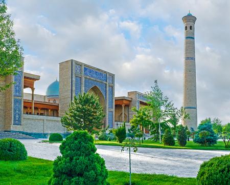 imam: The lush garden in front of Hazrat Imam Mosque, one of the most beautiful in Tashkent, Uzbekistan.