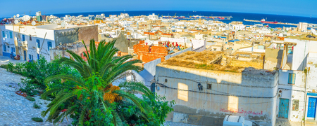 costal: The Kasbah of Sousse overviews all the costal area of the city, Tunisia.