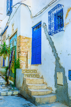 residential neighborhood: The old residential neighborhood with the scenic courtyard, Sousse, Tunisia.