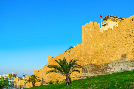 almost all: Sousse has one of the biggest Medinas in Tunisia, almost all of it is surrounded by medieval rampart, Tunisia. Stock Photo