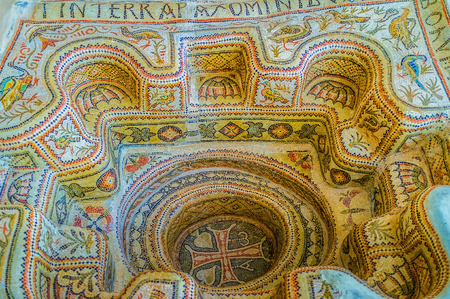 baptizing: SOUSSE, TUNISIA - SEPTEMBER 1, 2015: The ancient baptistery covered with mosaics with floral and animalistic patterns and with big cross in the middle, on September 1 in Sousse.
