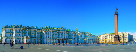 bartolomeo rastrelli: Saint Petersburg - April 24, 2015: The Palace Square is the main square of the city and surrounded by architectural masterpieces of the Russian Empitre, on April 24 in Saint Petersburg. Editorial