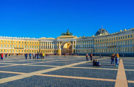 peterburg: Saint Petersburg - April 24, 2015: The Palace square is one of the biggest squares of the city and the most popular place among touristan and local kids, on April 24 in Saint Petersburg. Editorial