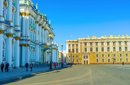 bartolomeo rastrelli: Saint Petersburg - April 24, 2015: The Winter Palace is the beautiful example of the Elizabethan Baroque style, on April 24 in Saint Petersburg.