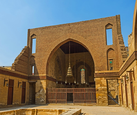 funerary: CAIRO, EGYPT - OCTOBER 10, 2014: The ruins in courtyard of Al-Nasir Muhammad funerary complex, on October 10 in Cairo.