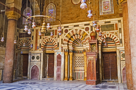 funerary: CAIRO, EGYPT - OCTOBER 10, 2014: The prayer hall of mosque in Al-Nasir Muhammad funerary complex decorated with colorful stone patterns, on October 10 in Cairo.