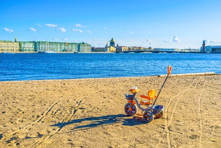 romantic places: Young bike owner knows about romantic places, and have  selected best place in advance, Saint Petersburg, Russia.