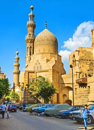 bab: CAIRO, EGYPT - OCTOBER 12, 2014: The medieval Qayson mosque in Bab Al Khalq district is the fine example of islamic art, on October 12 in Cairo.