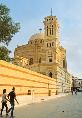 coptic orthodox: CAIRO, EGYPT - OCTOBER 12, 2014: The  St George church is one of the notable landmarks of the Coptic quarter, on October 12 in Cairo.