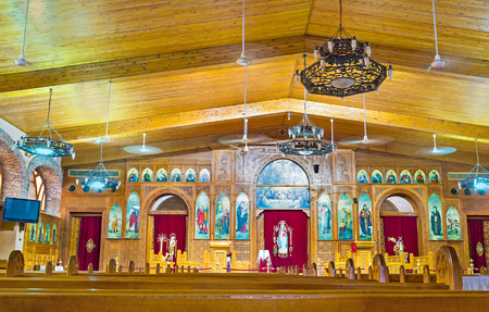 coptic orthodox: CAIRO, EGYPT - OCTOBER 12, 2014: The interior of the modern church in Coptic quarter, on October 12 in Cairo.