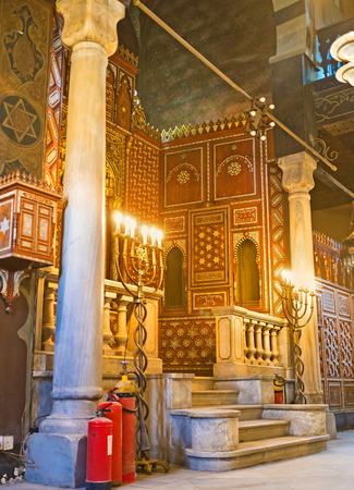 jewish houses: CAIRO, EGYPT - OCTOBER 12, 2014: The interior of Ben Ezra Synagogue, the oldest Jewish Temple in the city, located in Coptic quarter, on October 12 in Cairo. Editorial