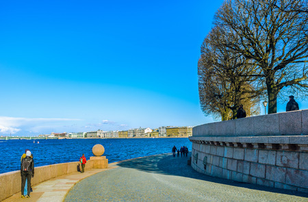 best way: SAINT PETERSBURG - APRIL 24, 2015: The best way to see main landmarks of the city is to go to the end of Vasilievsky Island, on April 24 in Saint Petersburg.