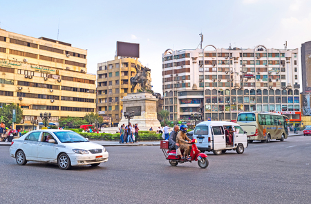 viceroy: CAIRO, EGYPT - OCTOBER 10, 2014: Al Opera Square with the equestrian statue of Viceroy Ibrahim Pasha in the middle was planned as the heart of modern city in XIX cent, on October 10 in Cairo.