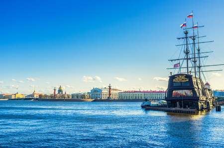 embankment: SAINT PETERSBURG - APRIL 24, 2015: The medieval ship looks harmoniously in old Saint Petersburg, on April 24 in Saint Petersburg. Editorial